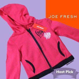 "NWT Joe Fresh Toddler Blush ""pow"" Graphic Hoodie"